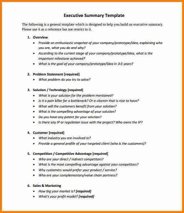 Executive Summary Outline Template 31 Executive Summary Templates - business summary template