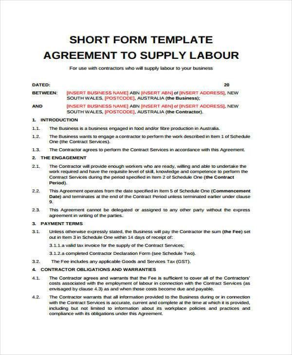 supply agreement contract resume template