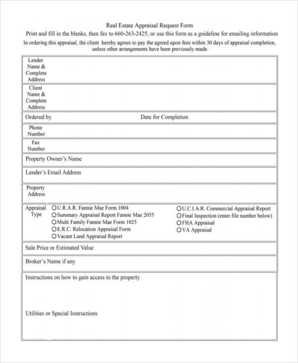 Free Sample Request Form 5 Request Form Templates Formats - appraisal order form