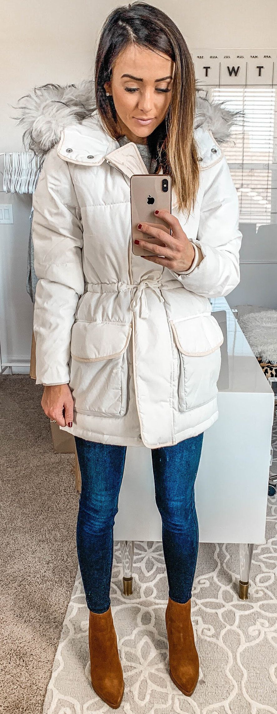 white zip-up parka jacket