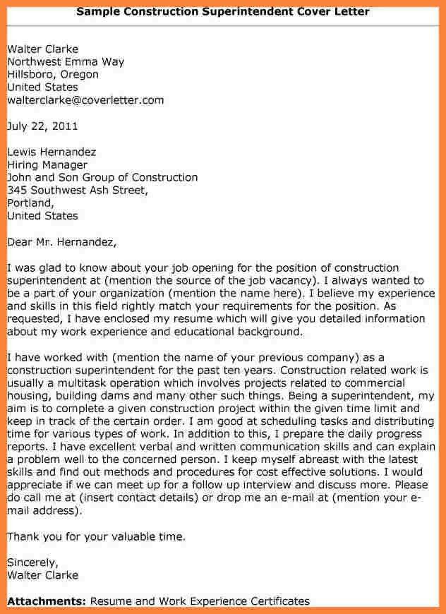 Sample Cover Letter For Construction Superintendent