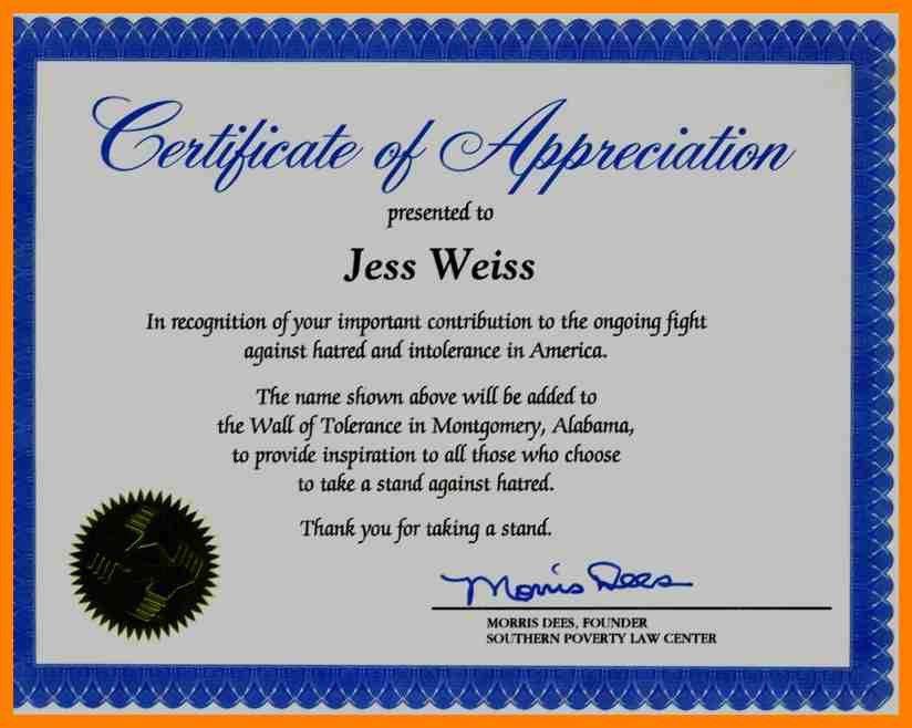 Certificate Of Appreciation Wording Examples How To Write A - certificate of appreciation words
