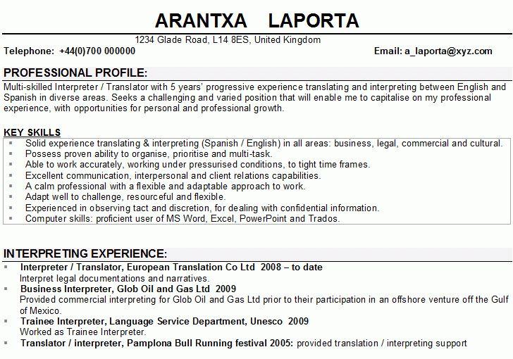 resume translation cvessayoneprofessionalus