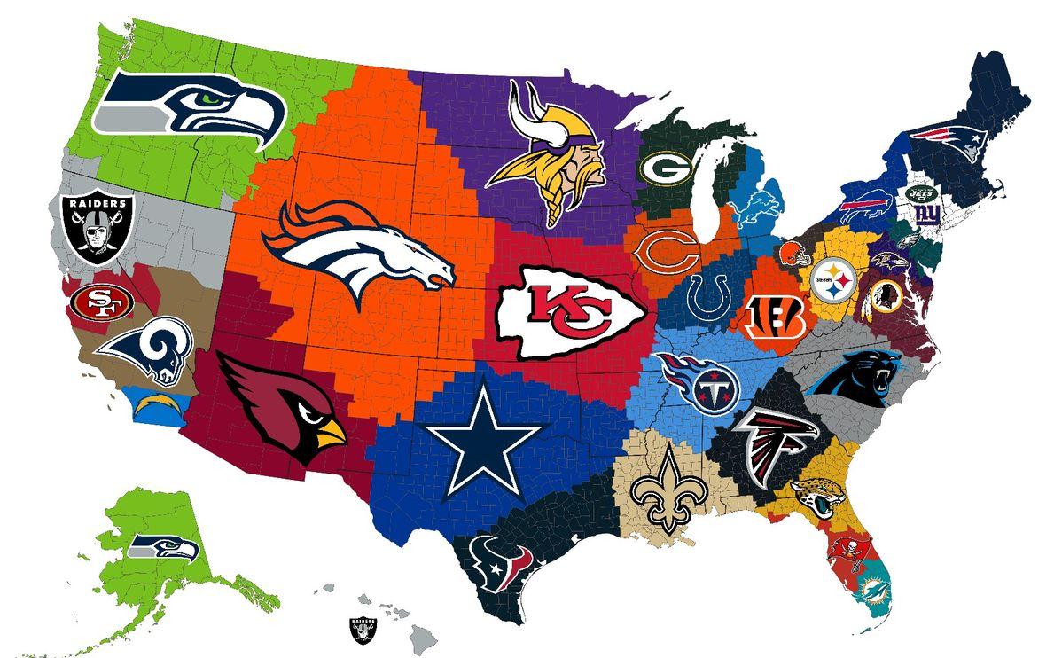 Closest NFL team to county Nfl, Mapas, Geografía