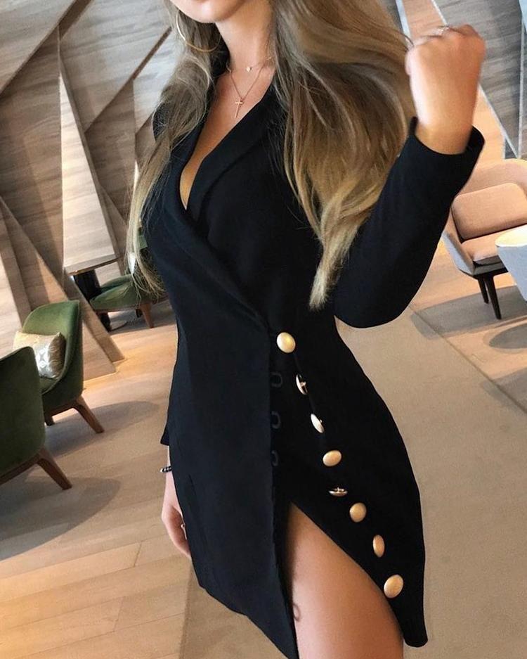 Button Side Design Blazer Dress