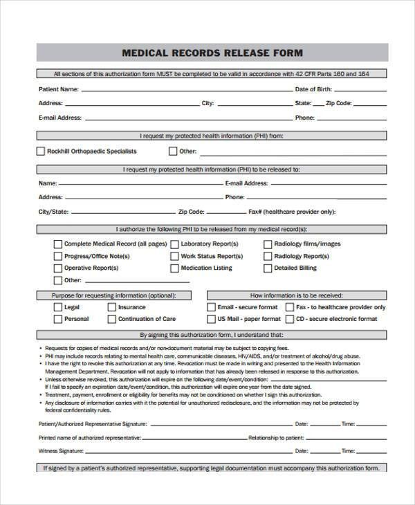 Medical Release Of Information Form Template Sample Medical - medical records release form