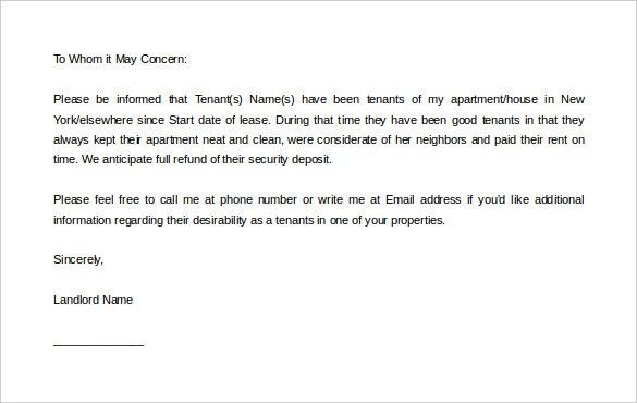 Free Reference Letter Template Reference Letter Template 37 Free - landlord reference letter