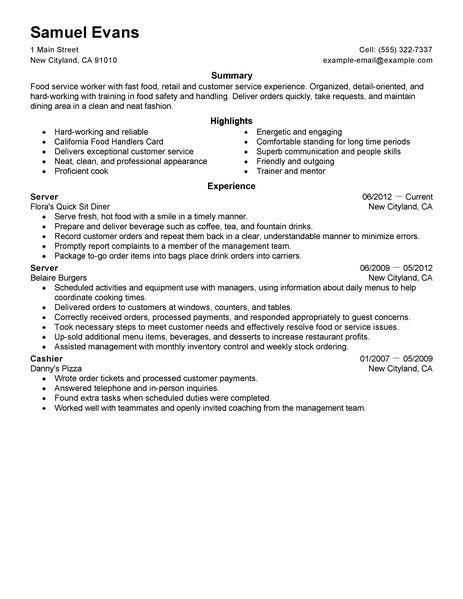 ... Sample Resume For Food Server Unforgettable Server Resume   Food Safety  Trainer Cover Letter ...