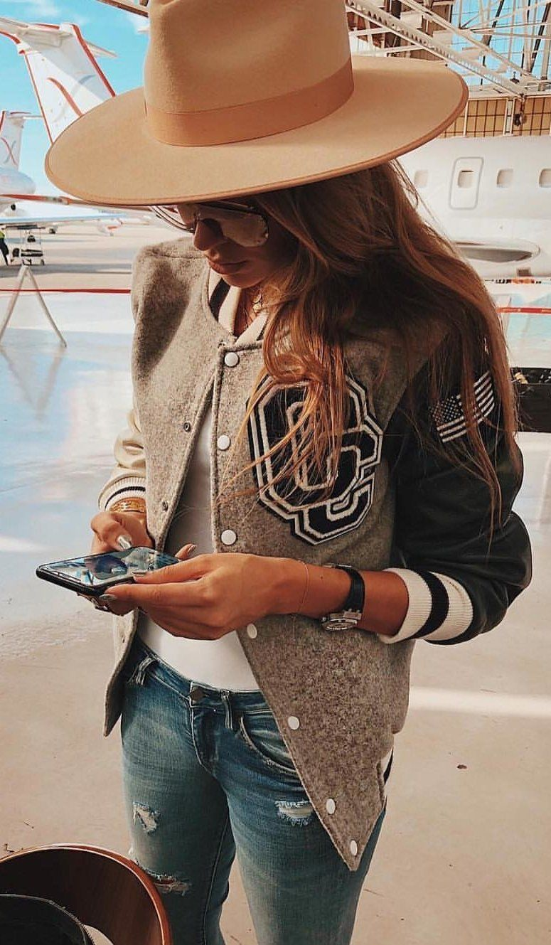 brown and black letterman jacket #spring #outfits