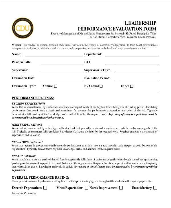 Performance Appraisal Form Format 8 Hr Appraisal Forms Hr - sample employee evaluation form
