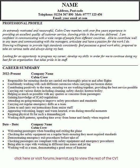 Cabin Crew Resume Example - Examples of Resumes