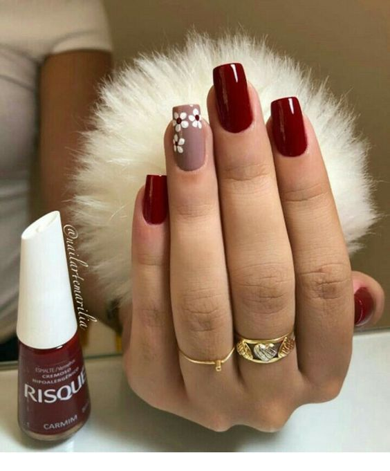 Nice burgundy nails with flowers