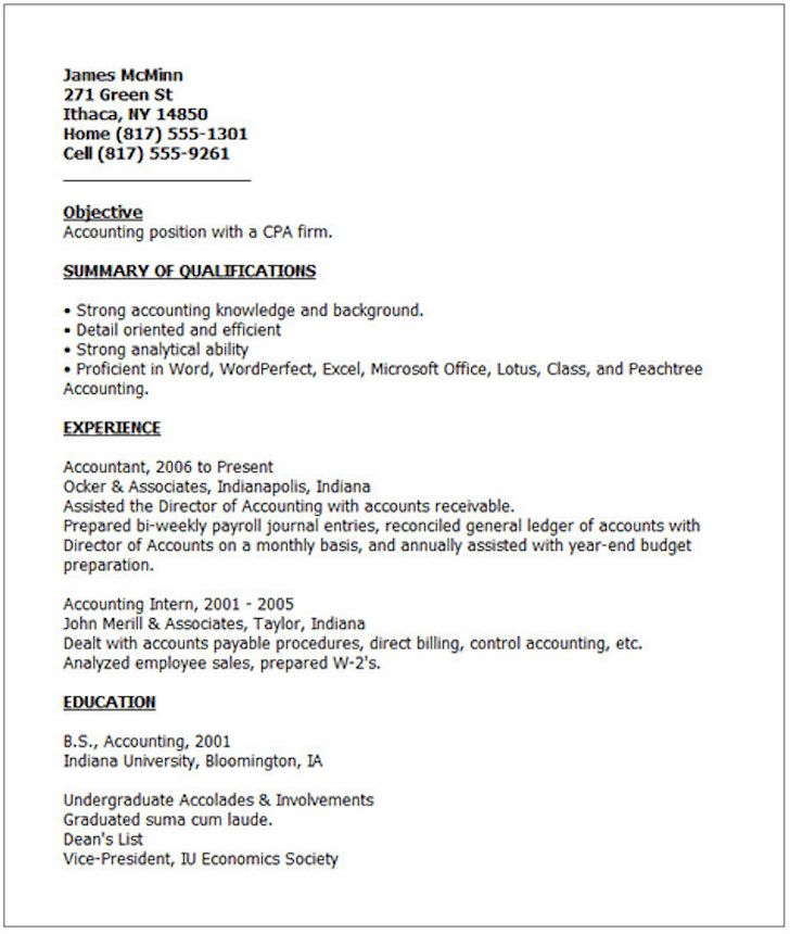 Show Me A Example Of A Resume  Examples Of Resumes