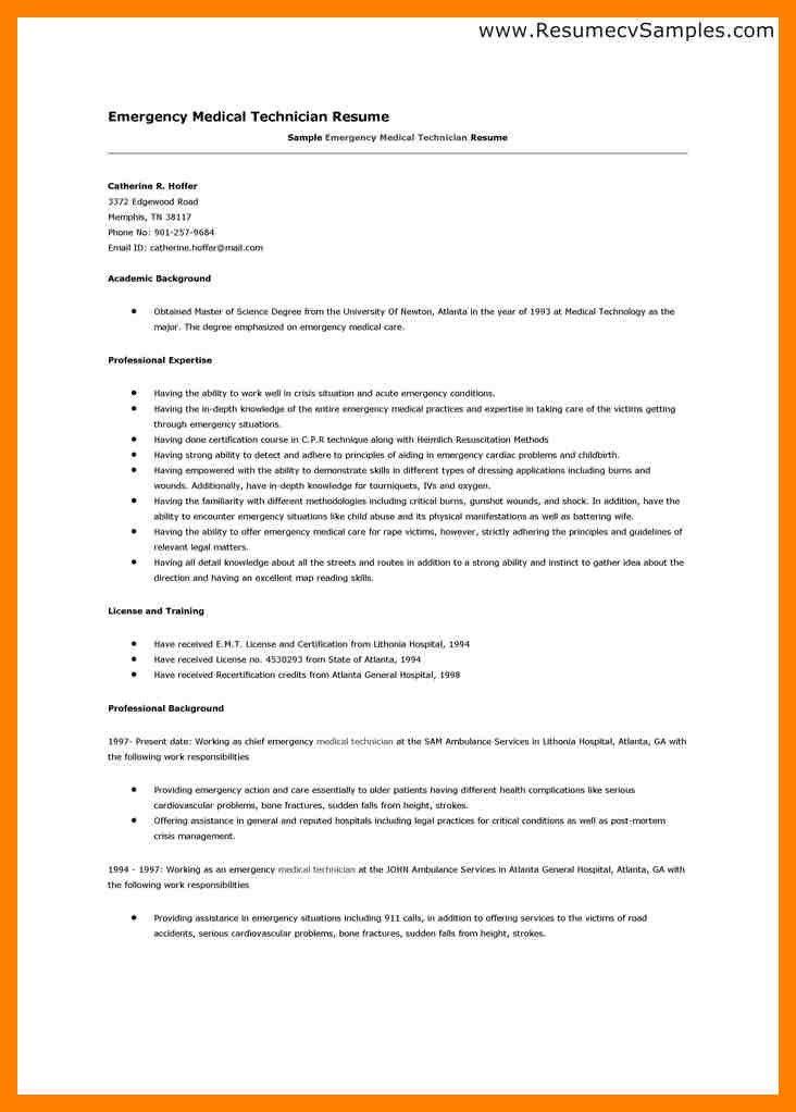 Certified Emt Resume Resume, Emt Resume Certified Emt Resume - medical technician resume