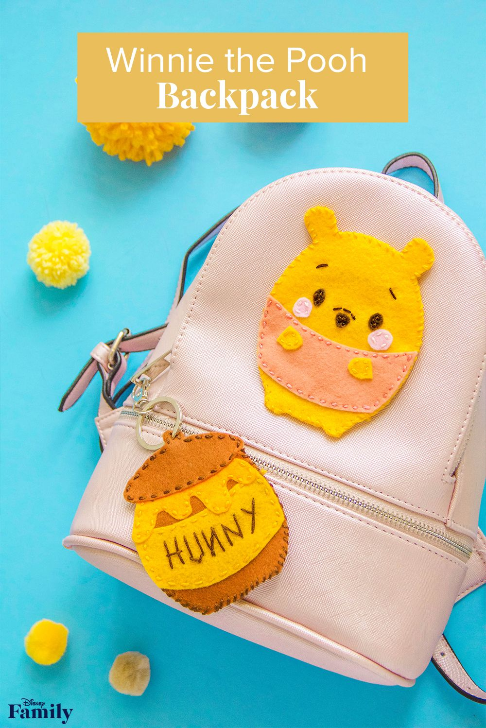 """Here's a little something sweet to add flair to any backpack. All you need are a few simple materials to create a patch inspired by the adorable Winnie the Pooh Ufufy. Add it to your kiddo's bag, and accessorize with a """"hunny"""" pot keychain charm. Now your little one can take that silly old bear with them everywhere they go! Click thru for the DIY Winnie the Pooh Backpack tutorial."""
