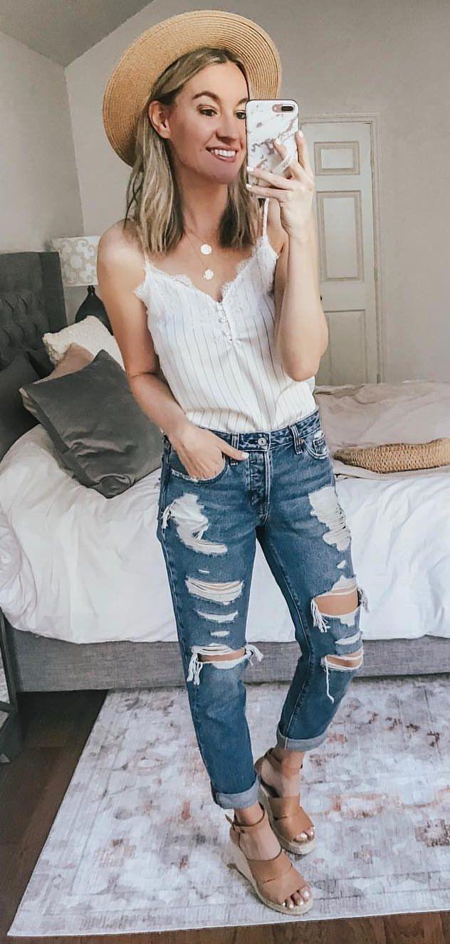 white spaghetti strap tank top #spring #outfits