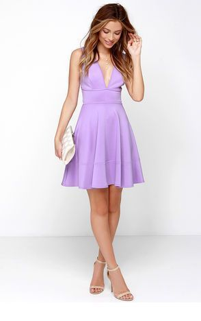 Sweet light purple short dress