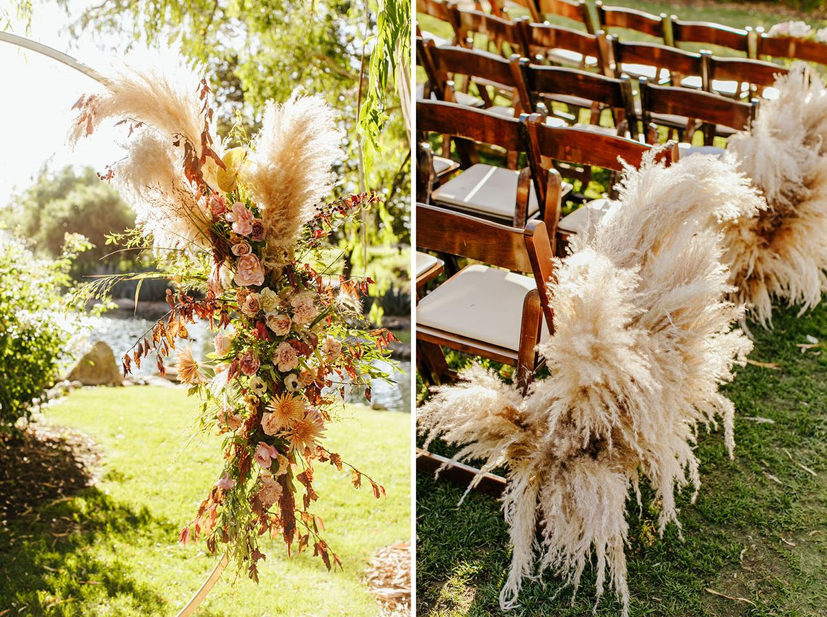 An Edgy + Boho Wedding Full of Lush Pampas Grass Decor and Chic Black Bridesmaids Dresses