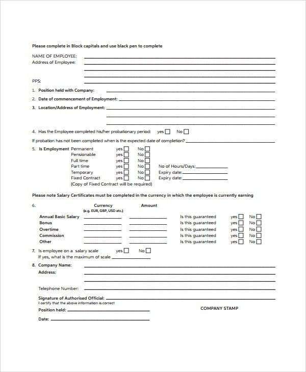 Salary Certificate Form Salary Certificate Form Free Printable - salary certificate template