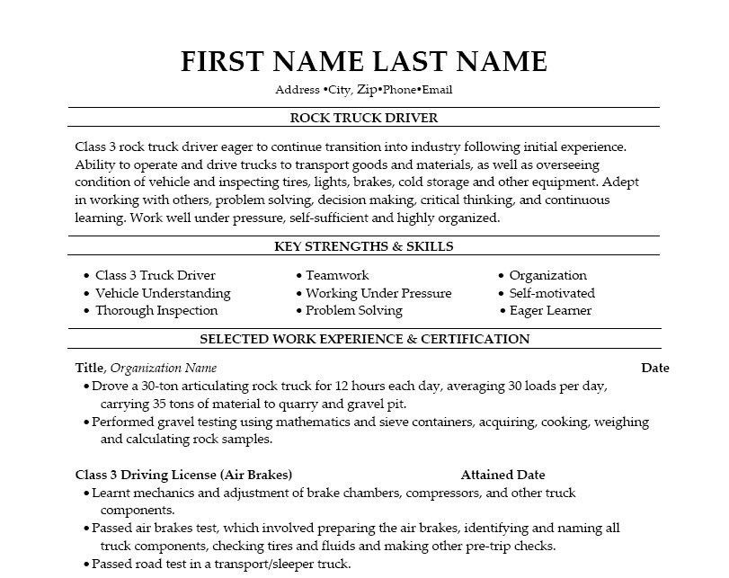Resumes For Truck Drivers Unforgettable Truck Driver Resume - forklift resume samples