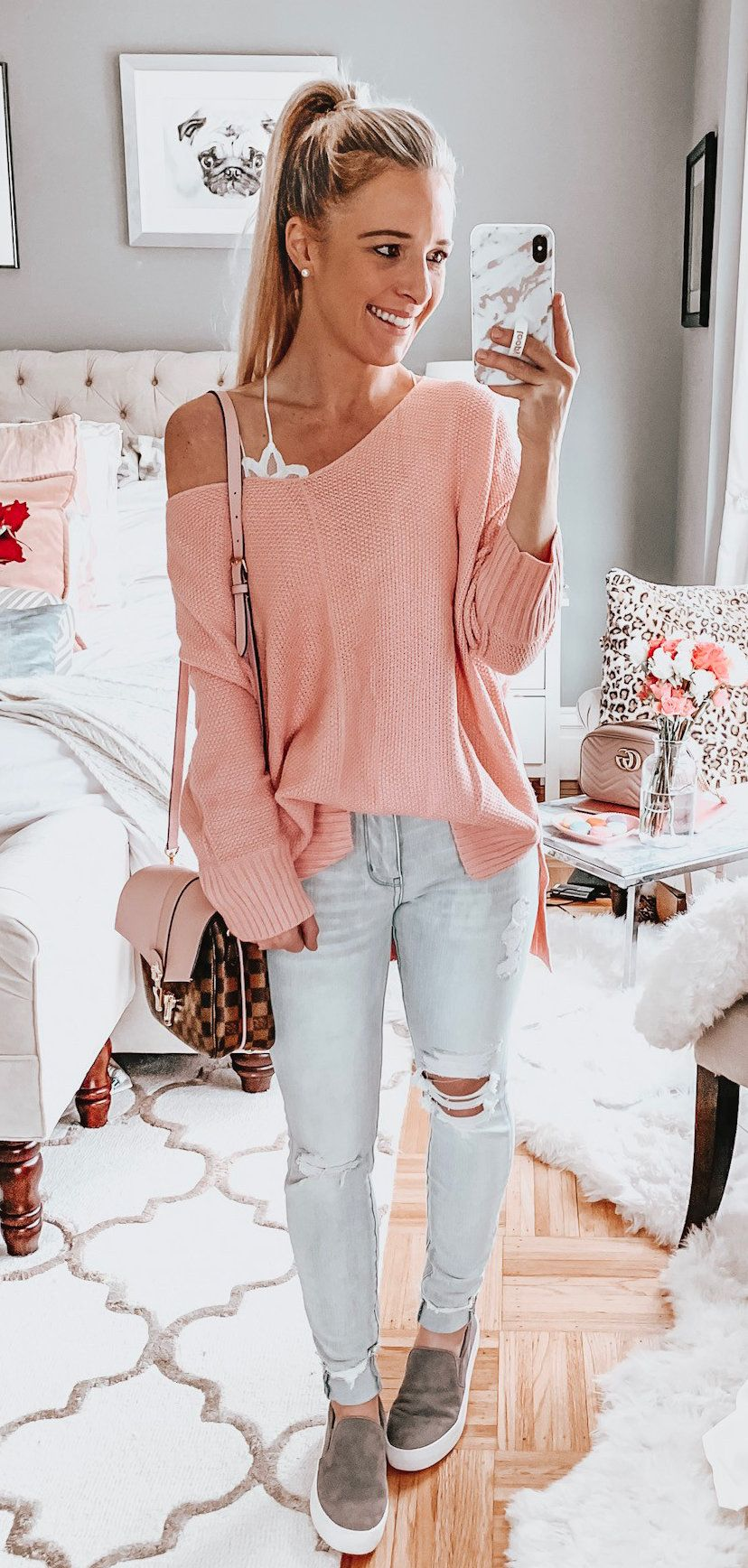 pink off-shoulder long-sleeved shirt #spring #outfits