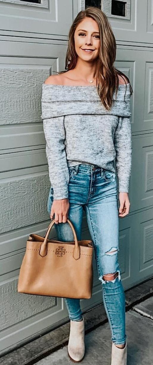 grey long-sleeved off-shoulder top