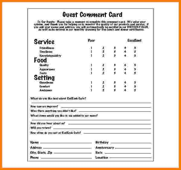 customer comment card template managerbillybullock - guest card template