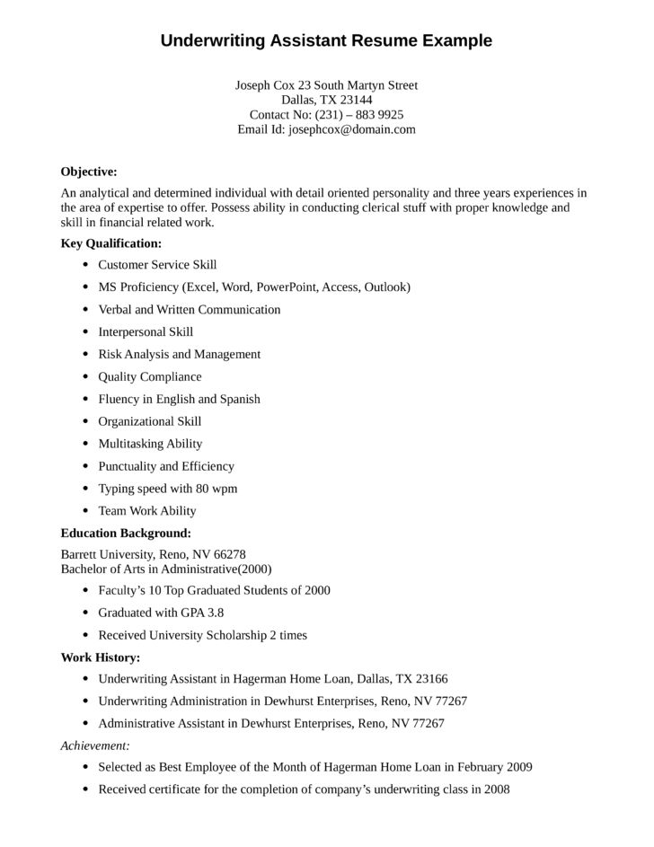 underwriting assistant resume student resume sample matchboard