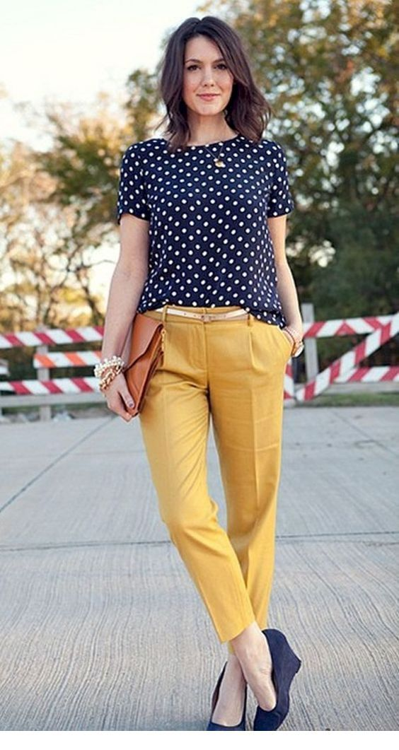 Polka dot top and yellow pants