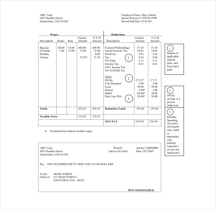 Pay stub template 17 free samples examples formats download - payroll stub template free