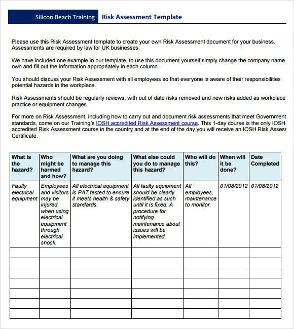 Risk Assesment Sample  Sample Risk Assessment Forms Free Premium