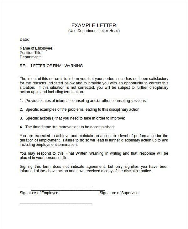 Format For Warning Letter 29 Hr Warning Letters Free Sample - sample final notice letter