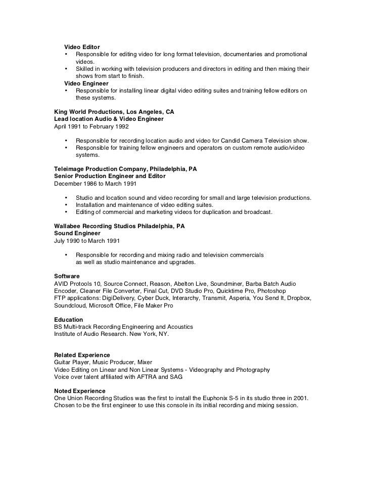 music recording engineer sample resume