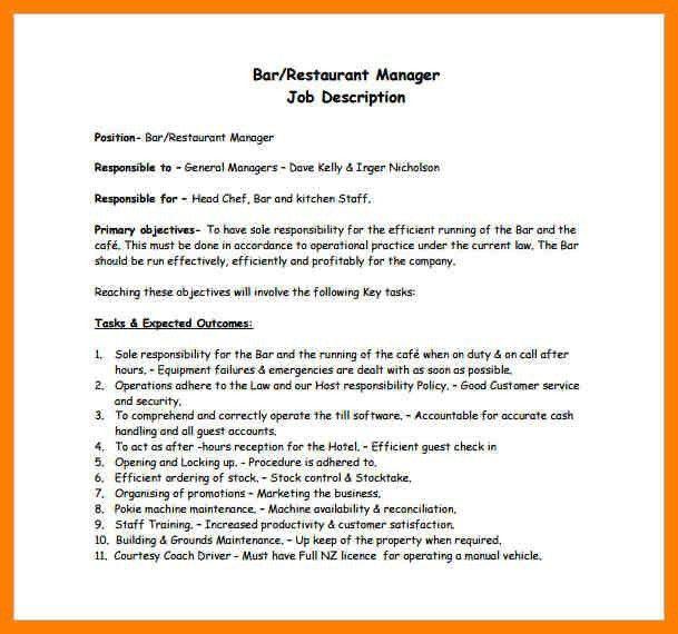 bar manager job description bar manager cv sample job description operation manager job description
