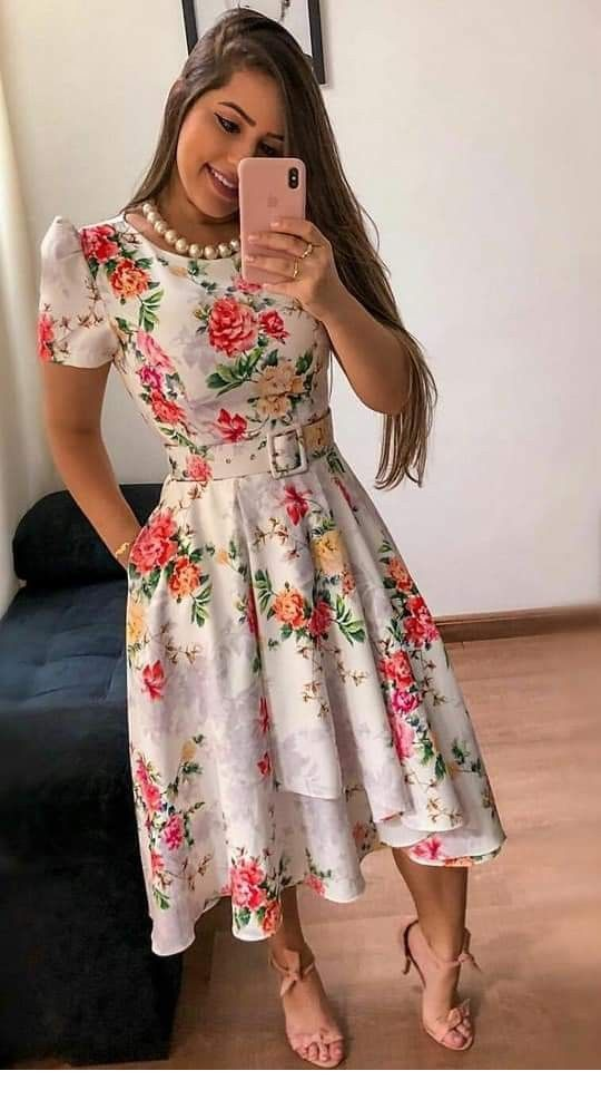 Floral dress with pearls