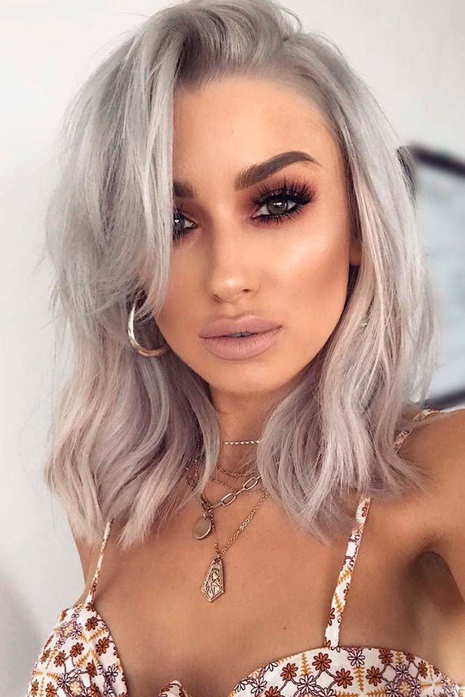 Ash Blonde Hair With Side Swept Bang #banghairstyles #ashblondehair ★ Love medium layered haircuts? Lots of ideas for thin and thin hair, styles for straight and curly hair texture, trending hairstyles with bangs and many inspo cuts are here! #glaminati #lifestyle #mediumlengthlayeredhaircuts