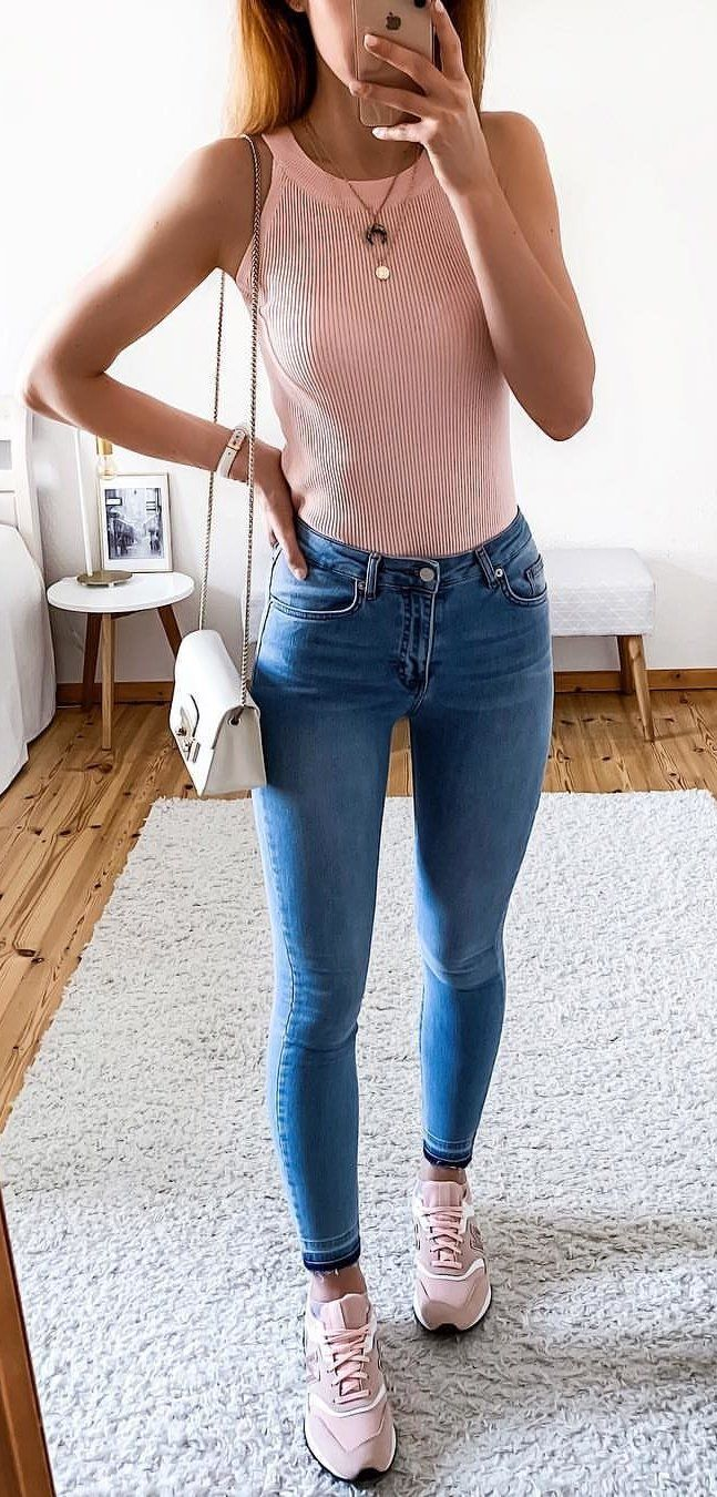 pink sleeveless shirt and blue denim stone-wash skinny jeans outfit #summer #outfits