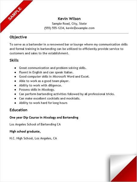 resume for bartenders serving resume examples resume examples