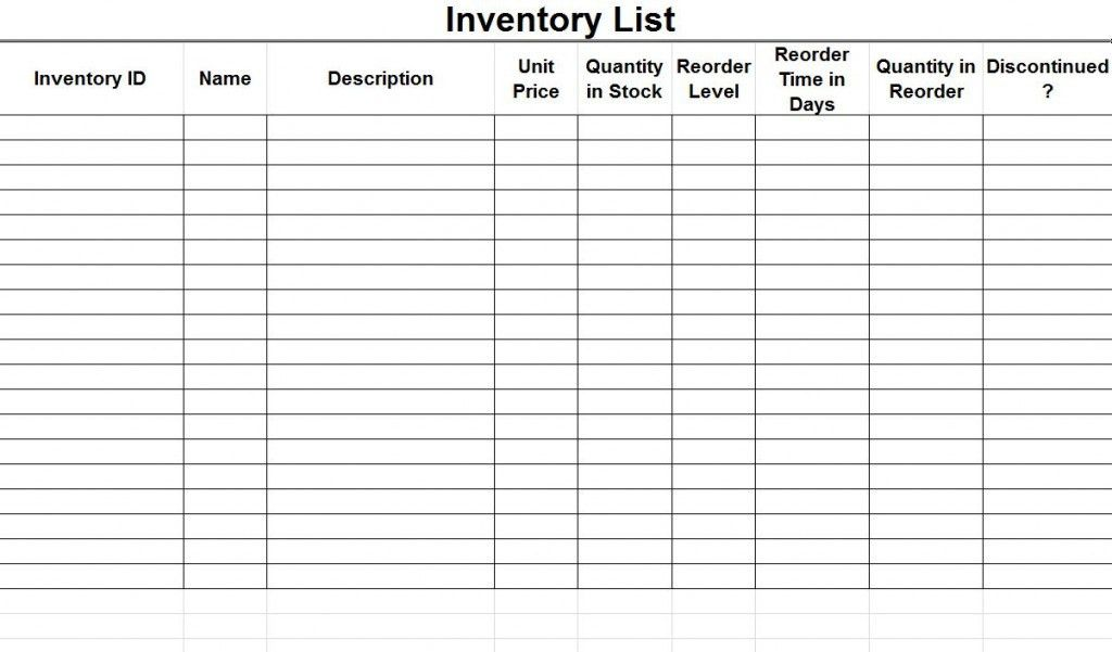 Stock Inventory List Inventory Control Template Stock Inventory - food inventory template
