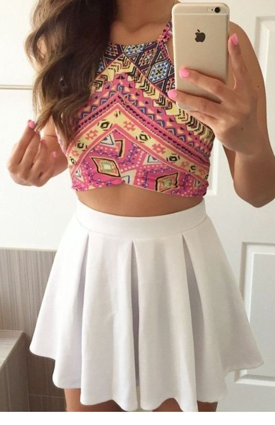 Tribal printed crop top and white skirt