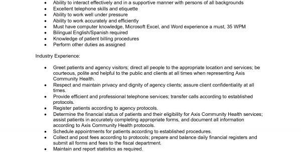 Medical Office Administration Duties Job Description Office - medical office receptionist resume