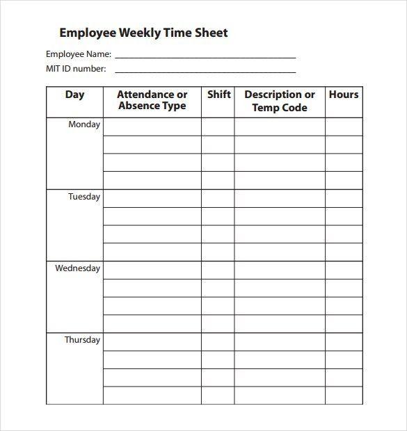 employee weekly time sheet