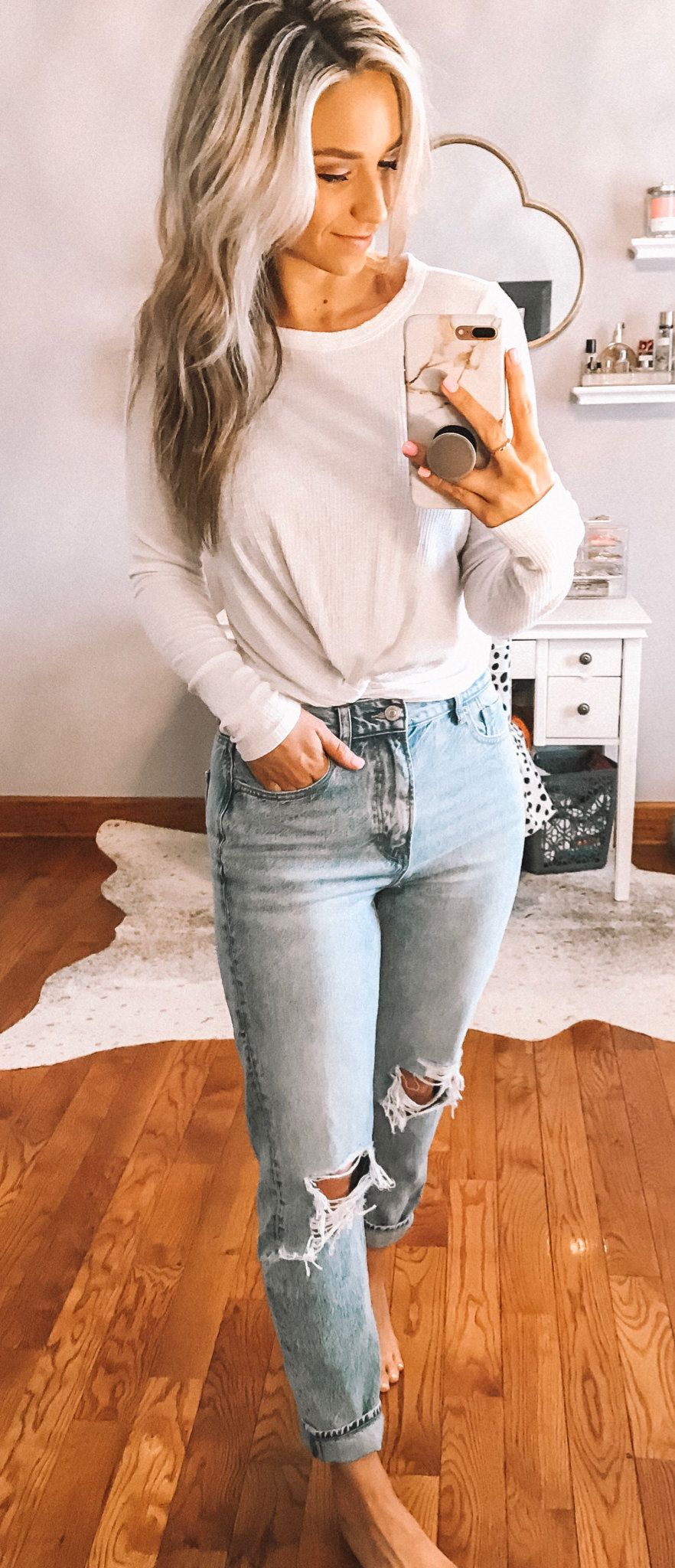 white crew-neck long-sleeved shirt #summer #outfits
