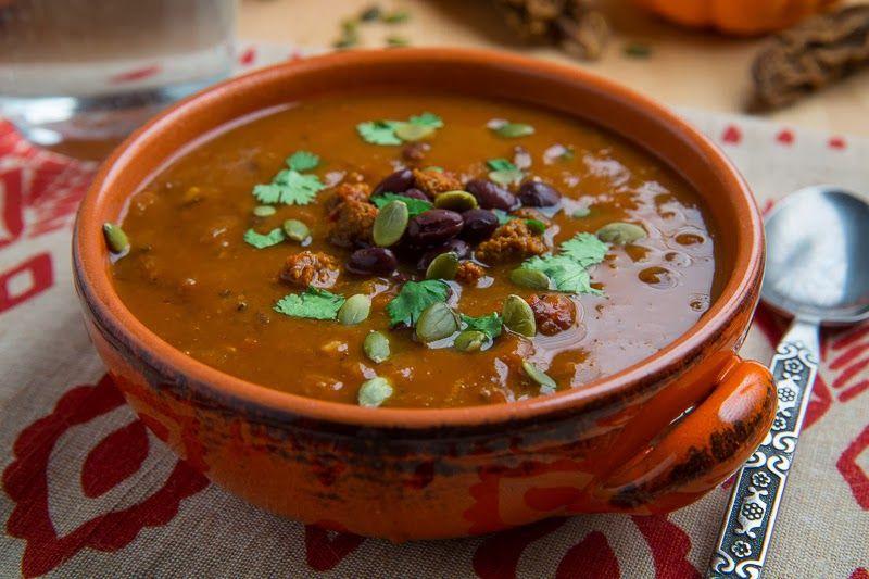 Pumpkin, Chorizo and Black Bean Soup