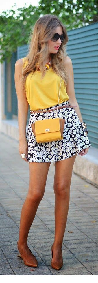 Sweet yellow top and little bag