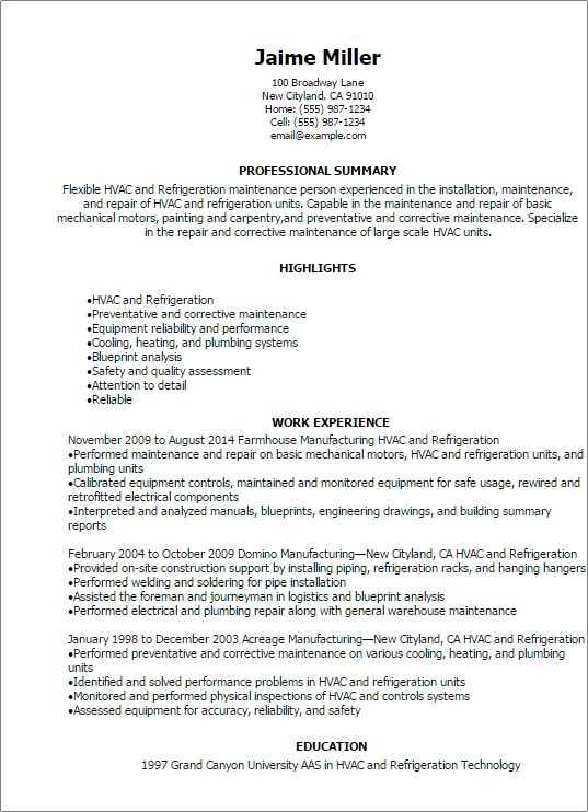 Entry Level Hvac Resume Sample Unforgettable And