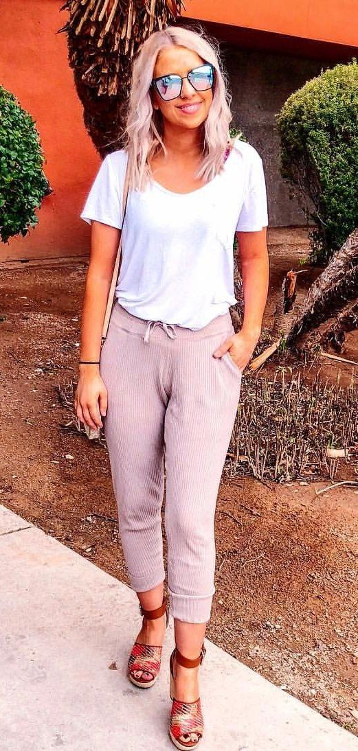 white scoop neck shirt #spring #outfits