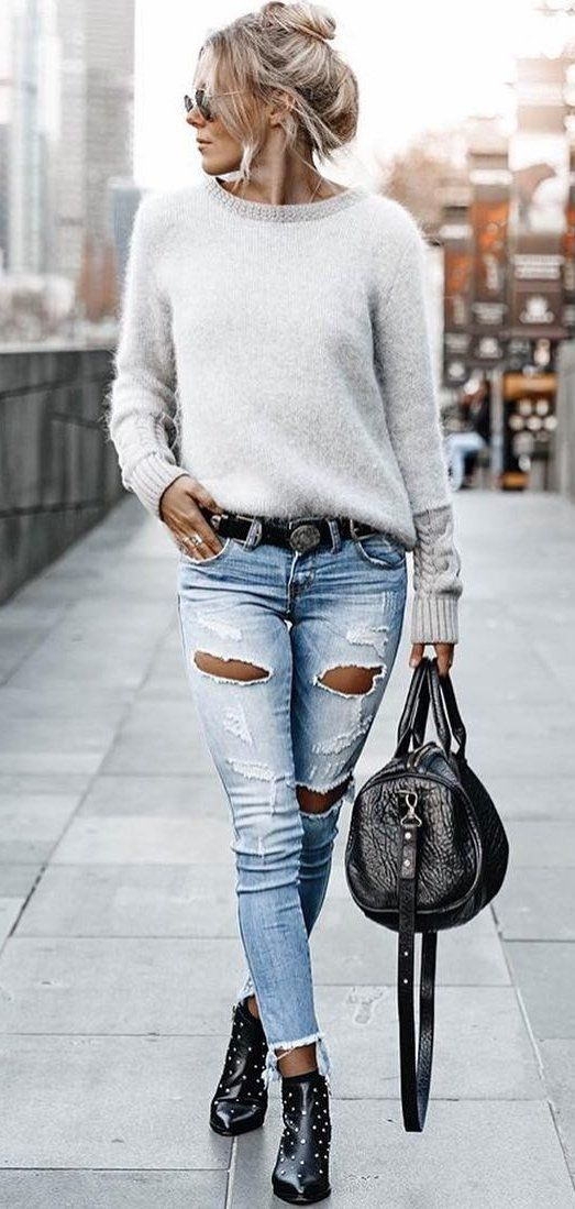 gray crew-neck sweater #spring #outfits
