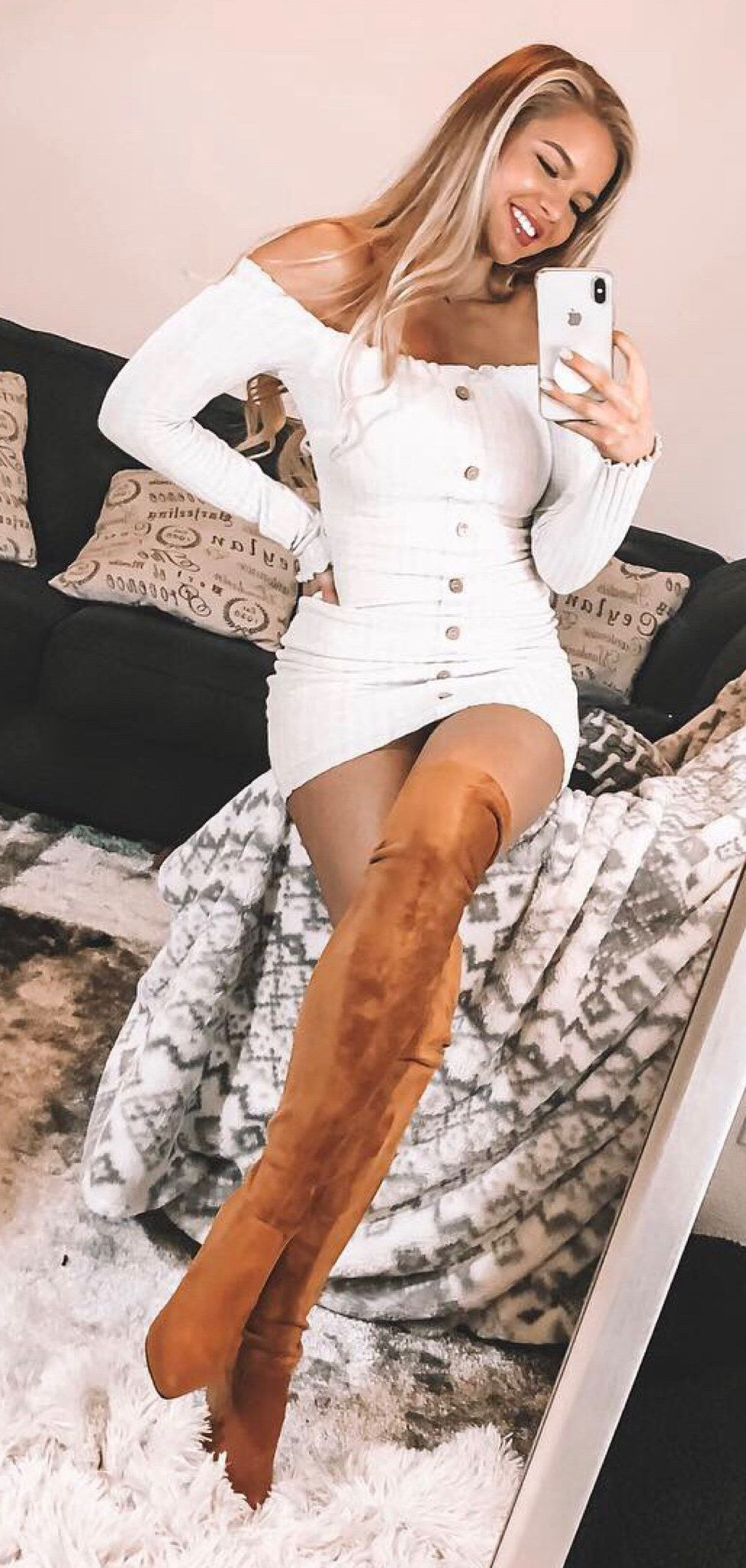 white and black long sleeve dress #spring #outfits