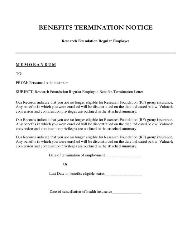 Employment Termination Letter Template Free Termination Letter - job termination letter